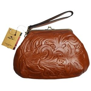 Patricia Nash Wristlet - Brown 100% Leather clutch